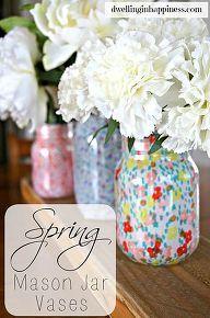 spring mason jar vases, crafts, decoupage, how to, mason jars, repurposing upcycling