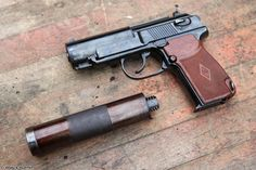 The PB silent pistol (Пистолет Бесшумный GRAU index 6P9) is a Soviet silenced pistol, based on the Makarov pistol design. It was issued into service in 1967