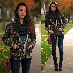Thread And Supply Camo Jacket, Bullhead Black Jeans, Francescas Scarf