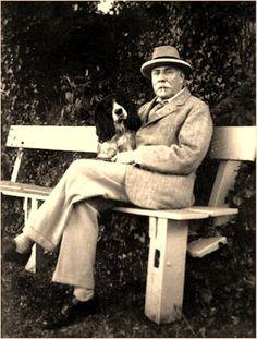 Sir Edward Elgar and his dog, 1927