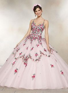 2-Piece Denim Floral Top Quinceanera Dress by Alta Couture MQ3016 Scalloped  Skirt 4bf5227e798f
