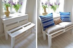 Great Cover up for unsightly items or in place of windowseat. Top 10 Creative Ways to Repurpose a Pallet