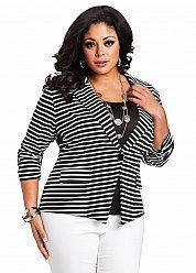 Striped Ruched Sleeve Jacket