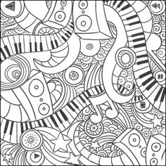 Music doodle coloring page : Craft Haven Square 3 Free