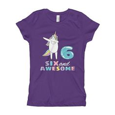 6th Birthday Gift 6 And Awesome Shirt Six Years Old Outfit Sixth Tshirt Dab Dance Unicorn Party Tee