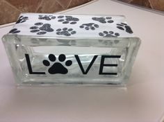 """SPECIAL ORDER """"LOVE WITH PAWPRINT"""" LASER ETCHED WITH PAWPRINT RIBBON EMBELLISHMENT. Laser etching by Lavene & Co"""
