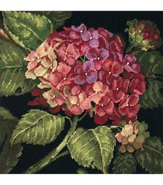 Dimensions Hydrangea Bloom Needlepoint Kit-14''X 14'', , hi-res