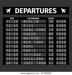 Airport Departure Board vector image on VectorStock
