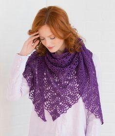 Lacy Pineapple Shawl - Lightweight and lacy, this beautiful pineapple pattern is perfect any time of the day. Wear it as a shawl or wrap it around your neck for scarf-like warmth.