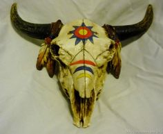 Painted Replica Bison or Buffalo Skull Trinket Box Decorated in Indian Painting Deer Skull Art, Deer Skulls, Moose Art, Buffalo Skull, Medicine Wheel, Trinket Boxes, Cow, Mosaic, Carving
