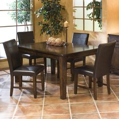 #HudsonsFurniture - This one is simple and clean. I like it.  Kona 5 Piece Dining Set with Parson's Side Chairs by Intercon