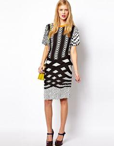 ASOS T Shirt Dress In Monoclash Print