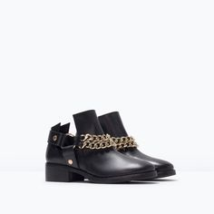 Image 2 of LEATHER ANKLE BOOTS WITH CHAINS from Zara