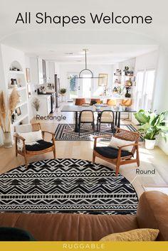 Boho Living Room, Living Spaces, Living Room Decor Inspiration, Room Dimensions, Living Room Designs, Washable Rugs, Decoration, Family Room, Interior Design