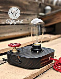 Rustic Desk lamp Makers Mark Reclaimed wood