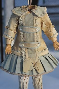 Marvelous antique doll dress, ivory and aqua satin, lace, German, French bebe  in Dolls & Bears, Dolls, Clothes & Accessories | eBay!