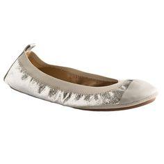 Exclusive Samantha Metallic Flats in Silver/Grey