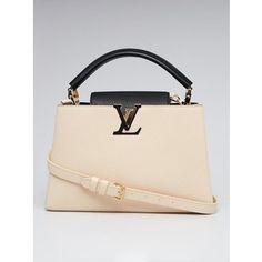 Pre-owned Louis Vuitton Black/Cream Taurillon Leather Capucines PM Bag
