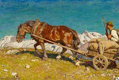 Julius Paul Junghanns: Bauer mit Pferdekarren im Hochgebirge aus unserer Rubrik: Gemälde des 19. Jahrhunderts