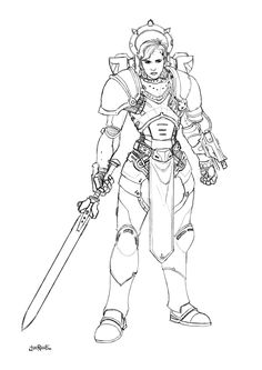 Warhammer 40K Female Grey Knight Space Marine Sgt. - concept for miniature by HeresyLab.com