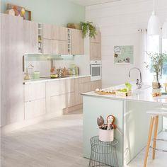 cuisine verte esprit scandinave leroy merlin ambiance maison de poupe avec les teintes pastel - Cuisine Vert Eau