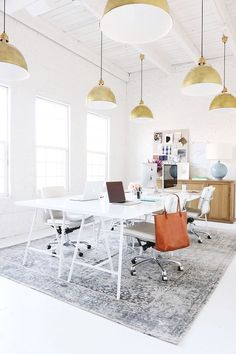 Office Space: Studio McGee: Before and After Studio Tranformation // home office, clean modern office, office inspiration, minimalistic, minimalism Workspace Design, Office Workspace, Office Interior Design, Home Office Decor, Office Interiors, Home Decor, Office Ideas, Loft Office, Office Inspo