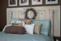 Old door headboard and lots of hand made pillows
