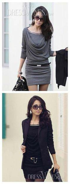Premier Korean Style Slim Drape Long Sleeve Dress#OL