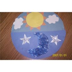 day and night Craft.cotton balls for the clouds and basic shapes for the rest of the craft.