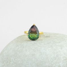 Silver ring Prong Ring Pear 11x15mm Ring Gold Plated by BaniThani