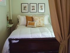 decorology,  For a super small bedroom.  Small shelf mounted on wall instead of nightstand.