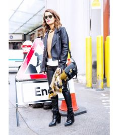 @Alexandra M What Wear - Leather Jacket + Leather Pants                 Get The Look: French Connection Roller Girl Jacket ($218) in Black; Anine Bing Stretch Leather Skinny Pants ($799) in Black  Image via Collage Vintage