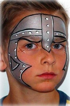 Knight or guard face painting.interesting idea for costume for a children's… Face Painting For Boys, Face Painting Designs, Paint Designs, Body Painting, Mask Painting, Maquillage Halloween, Halloween Makeup, Halloween Face, Medieval Party