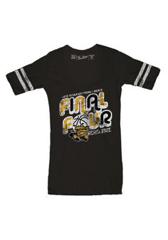 Wichita State University (WSU) Shockers Final Four Women's Striped Sleeve Shirt http://www.rallyhouse.com/college/wichita-state-shockers/a/womens/b/clothing/c/t-shirts?utm_source=pinterest&utm_medium=social&utm_campaign=Pinterest-WSUShockers $31.99