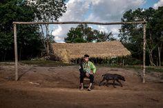 """Felipe Ferreira da Silva, 13ans, futur gardien. Équipe de foot """"Gavião FC"""", de la communauté indigène """"Aldeiahywi Gavião"""", une des 3 équipe de l'ethnie Sateré-Mawé, l'ethnie la plus titrée du """"Peladão"""". Le Peladão est le championnat indigène de football d'Amazonie, Il dure 3 mois, et réuni jusqu'à 1000 équipes. Manaus, Brésil. Juin 2014...©Dom Smaz Outdoor Furniture, Outdoor Decor, South America, Football, Manaus, 3 Months, Future Tense, June, Soccer"""