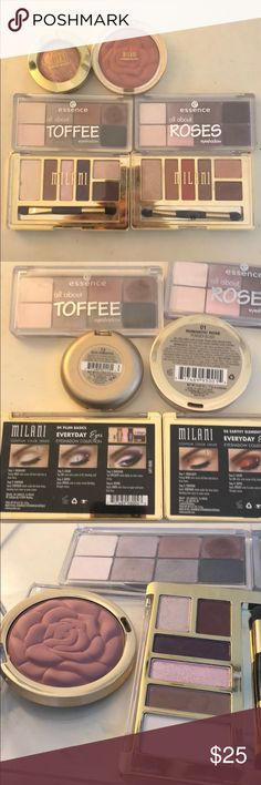 Milani and essence bundle 4 eyeshadow palette and 1 blush 1 highlight/blush. All lightly used. Loved the milani orange palette so much! All very soft color for everyday use. Price for all. All purchased in 2017. Milani Makeup Eyeshadow