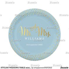 STYLISH WEDDING TABLE mini confetti gold blue