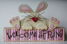 Hand painted wood craft decor bunny block sign for Easter or Spring by Bognito by millie