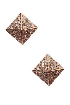 JLC Bijoux Large Rose Gold Plate & CZ Pyramid Stud Earrings