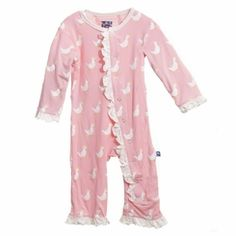 Kickee Pants Ruffle Coverall in Lotus Duck
