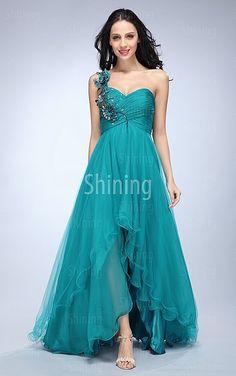 Dark Green A-line Asymmetrical One Shoulder Dress
