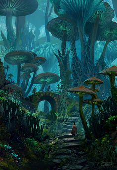 ArtStation - Mushy Land Raphael Lacoste - Pen and Paper -You can find Magical forest and more on our website.ArtStation - Mushy Land Raphael Lacoste - Pen and Paper - Fantasy Concept Art, Fantasy Artwork, Fantasy Paintings, Digital Paintings, Digital Art, Space Fantasy, Fantasy Art Landscapes, Landscape Art, Landscape Concept