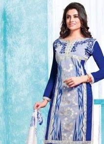 Aesthetic Blue Embroidered Work Churidar Designer Suit