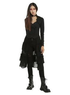 Black Sweetheart Double-Breasted Tiered Ruffle Jacket, BLACK