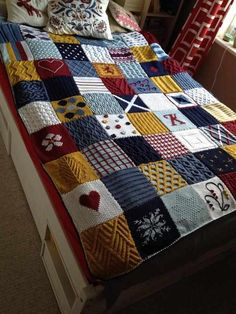 Again it's knit & patchwork blanket but i love it! Just pic for inspiration. Patchwork Best Picture For patchwork quilting for sale For Your Taste You are looking for something, and it Patchwork Blanket, Afghan Blanket, Crochet Blanket Patterns, Knitting Patterns Free, Free Knitting, Baby Knitting, Knit Blanket Squares, Patchwork Quilting, Knitting Squares