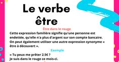 4 Expression avec le verbe être Love French, French Words, Learn French, French Teacher, Teaching French, French Grammar, French Language Learning, Expressions, Voici