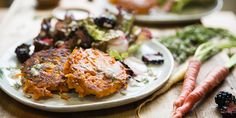 Carrot Socca with Red Lettuce Blackberry Salad & Dill Dressing