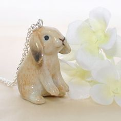 Lop Rabbit Bunny Necklace Wesley the Wise Lop by LavenderRabbit