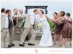 Amanda Jayne Photography - Hampton Inn Jacksonville Beach Florida -  Bride And Groom With Bridesmaids And Groomsmen Playful Silly Fun Beach Portrait - Jacksonville Florida Wedding Photography