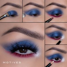 """Looking for the perfect glam to strut on fourth of July? Look no further. What you'll need: Jet Setter Eyeshadow Palette Static Eyeshadow Palette Kohl Eyeliner in shade """"Angel"""" We've linked a step by step here for you! Kohl Eyeliner, Holiday Makeup, In Cosmetics, Get The Look, Fourth Of July, Eyeshadow Palette, Makeup Looks, Make Up, Lipstick"""